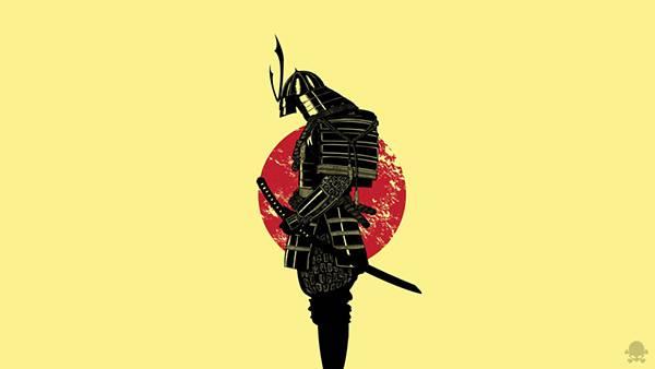 09.鎧を着て武士の横から見た立ち姿を描いたイラスト壁紙画像