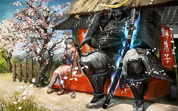 11.団子屋に座る巨大な武者を描いたイラスト壁紙画像