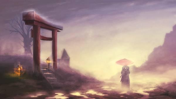 12.霞の中の侍と鳥居を描いた美しいイラスト壁紙画像