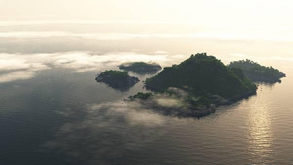 02.木の生い茂る無人島を上空から撮影した美しい写真壁紙画像