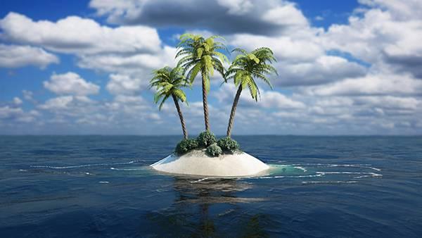 08.三本の椰子の木が生えた小さな無人島を撮影した綺麗な写真壁紙画像