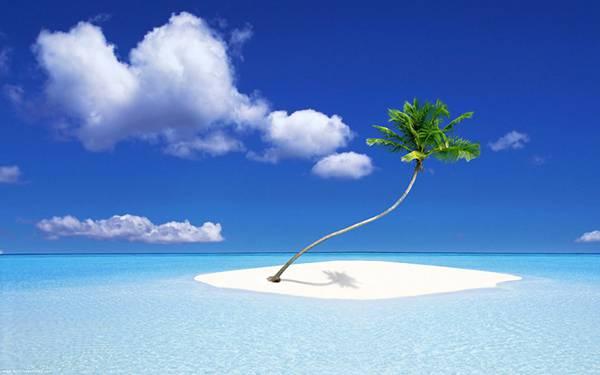 09.爽やかな海と空と小さな無人島を撮影した綺麗な写真壁紙画像