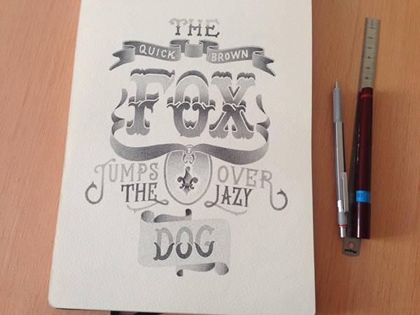 機械のような正確さ!ペン一本で制作された点描画タイポグラフィーイラスト - 01