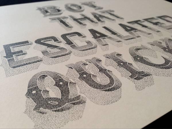 機械のような正確さ!ペン一本で制作された点描画タイポグラフィーイラスト - 04