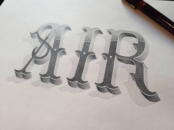 機械のような正確さ!ペン一本で制作された点描画タイポグラフィーイラスト - 05