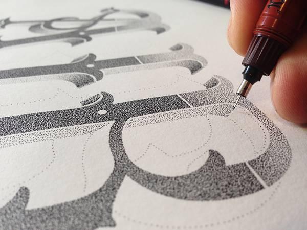 機械のような正確さ!ペン一本で制作された点描画タイポグラフィーイラスト - 06