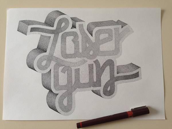 機械のような正確さ!ペン一本で制作された点描画タイポグラフィーイラスト - 09
