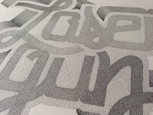 機械のような正確さ!ペン一本で制作された点描画タイポグラフィーイラスト - 10