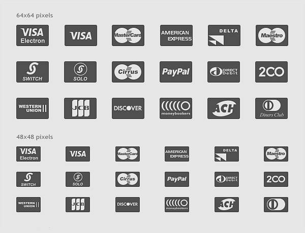 Payment Card Glyphs Icon Set