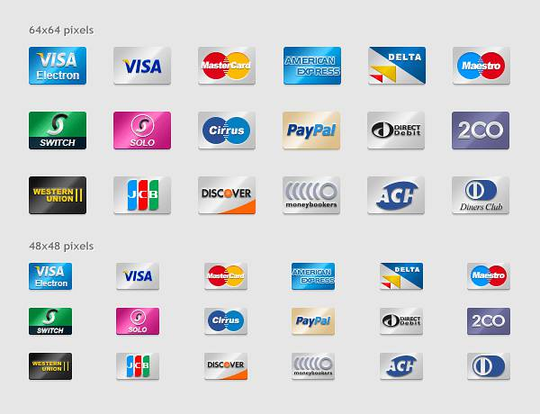 Payment Cards Icon Set