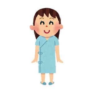 検査着の女性のイラスト(健康診断)