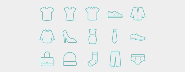 無料素材:ファッションアイテムをシンプルにデザインしたイラストアイコンセット