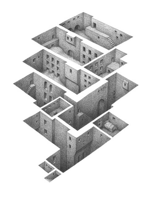 蟻の巣のように繋がる部屋を描いたイラストレーション作品 - 01