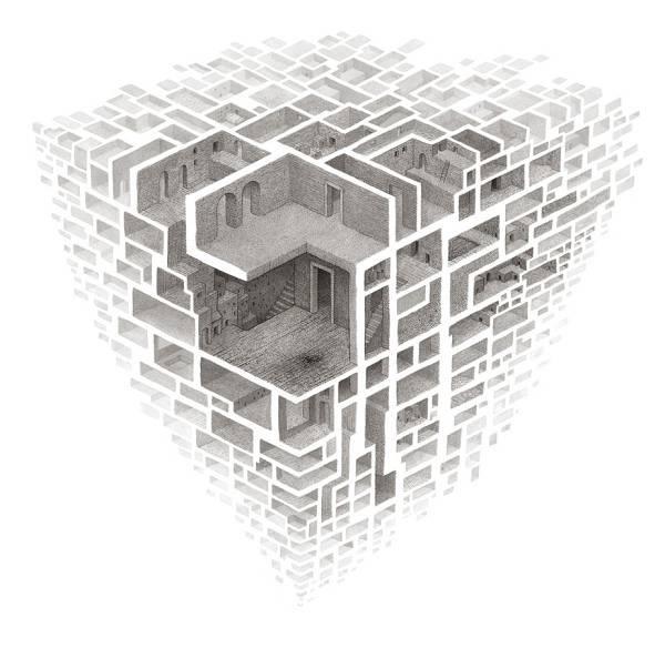 蟻の巣のように繋がる部屋を描いたイラストレーション作品 - 02