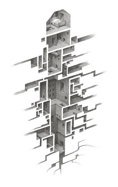 蟻の巣のように繋がる部屋を描いたイラストレーション作品 - 04