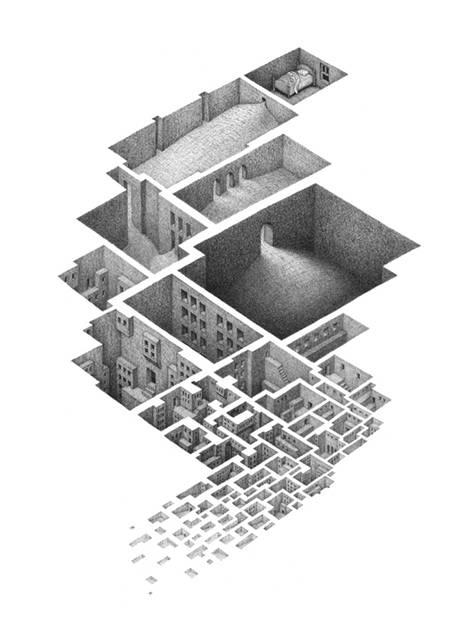 蟻の巣のように繋がる部屋を描いたイラストレーション作品 - 05