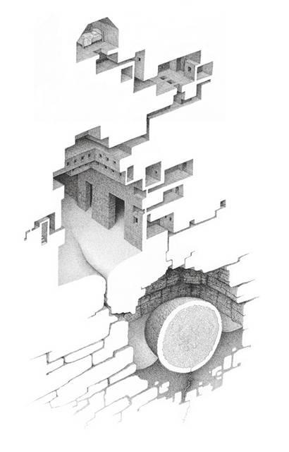 蟻の巣のように繋がる部屋を描いたイラストレーション作品 - 06