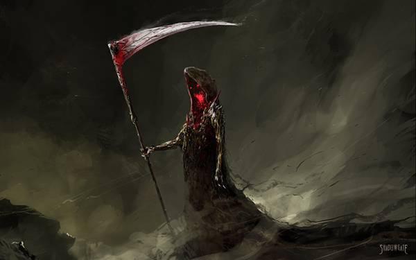 02.ローブの中で赤く光る表情が怖い死神のイラスト壁紙画像