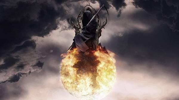 03.炎の玉の上に座ったローブを着た死神のイラスト壁紙画像