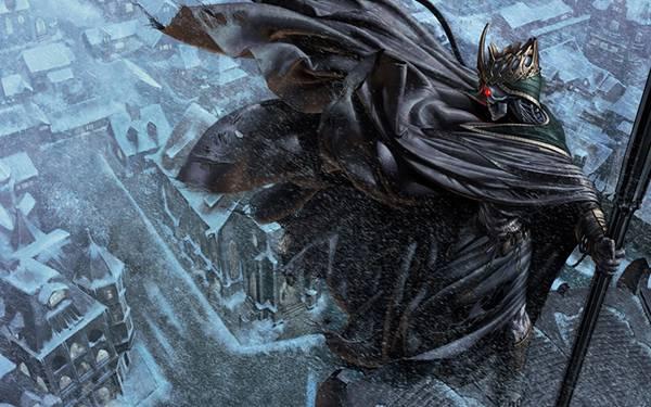 06.吹雪の街を見下ろす王冠をかぶった死神のイラスト壁紙画像