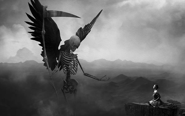 07.女性の前に現れた骸骨の死神のかっこいいイラスト壁紙画像