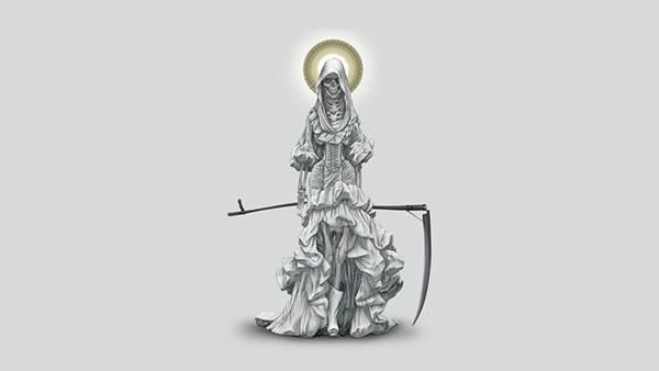 08.ドレスを着た死神を描いたシンプルでかっこいいイラスト壁紙画像