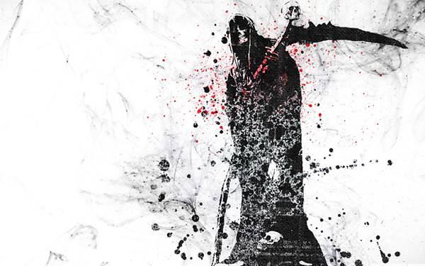 11.ローブを着た死神を飛沫でデザインしたかっこいいイラスト壁紙画像