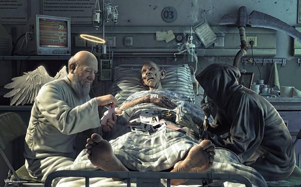 12.瀕死の病人の前でカード勝負をする死神と神様のイラスト壁紙画像
