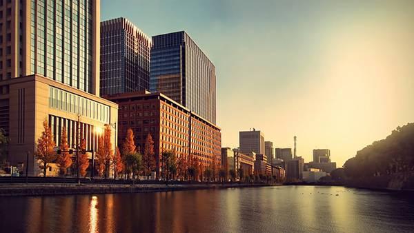 03.東京のビル街の川の風景を撮影した美しい写真壁紙画像