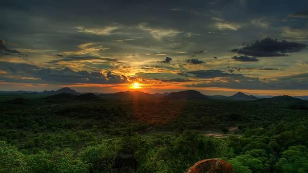 01.ジャングルに沈む夕日を撮影した美しい写真壁紙画像