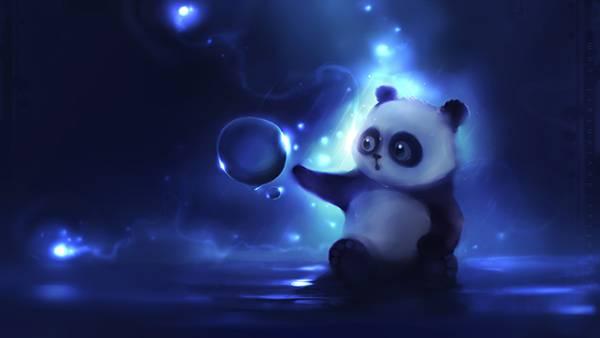 01.シャボン玉をさわろうとするパンダを描いた綺麗なイラスト壁紙画像