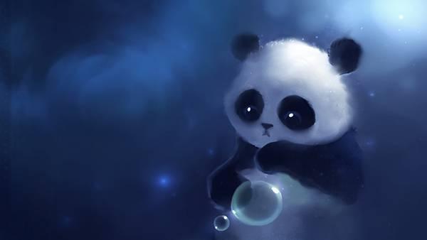 02.シャボン玉とパンダを綺麗なブルーで描いたイラスト壁紙画像