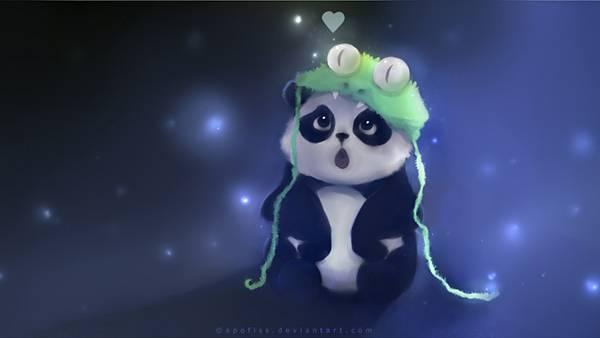 04.ワニの帽子をかぶったパンダを描いた可愛いイラスト壁紙画像