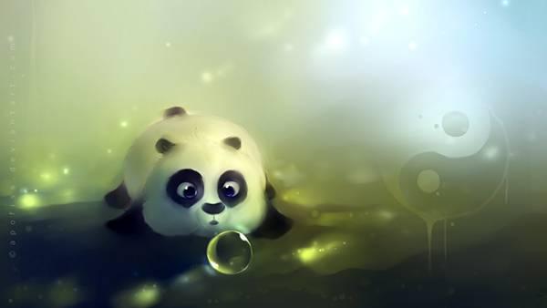 05.水の泡を不思議そうに見つめるパンダの可愛いイラスト壁紙画像