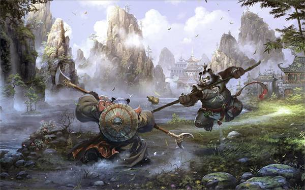 07.戦う二匹のパンダを中華風に描いたかっこいいイラスト壁紙画像
