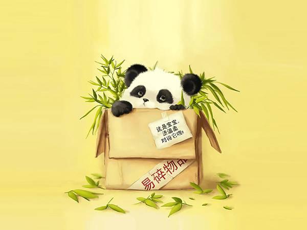 08.段ボール箱の中の笹とパンダを描いた可愛いイラスト壁紙画像