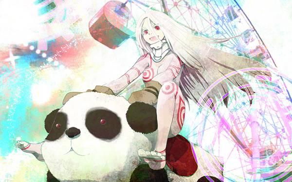 09.遊園地のパンダの乗り物で遊ぶ女の子のイラスト壁紙画像