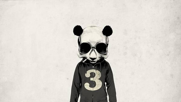 10.パンダのガイコツをかぶったデザインのクールなイラスト壁紙画像