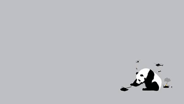 12.戦車やヘリコプターを遊ぶパンダを描いたユニークなイラスト壁紙画像