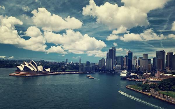 01.ビルと青空と海が美しいシドニー港の風景の写真壁紙画像