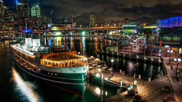 02.シドニーの港の夜景をHDRで撮影した美しい写真壁紙画像