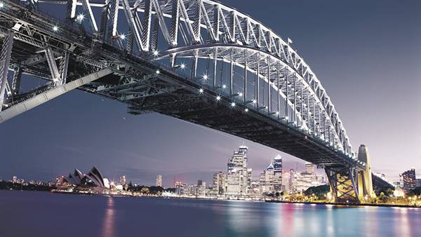 05.シドニー・ハーバーブリッジの夜景の美しい写真壁紙画像
