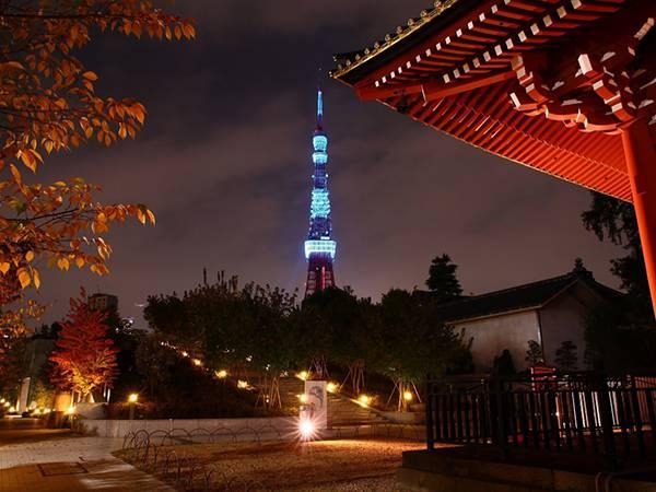 06.お寺から見える東京タワーを撮影した綺麗な写真壁紙画像