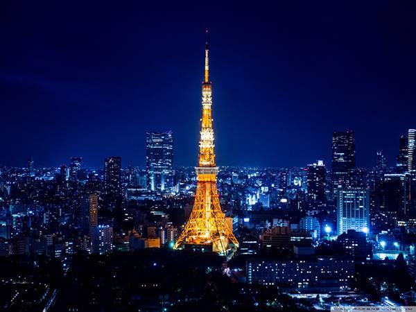 10.夜景のブルーに映える東京タワーの美しい写真壁紙画像