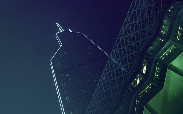 06.ライトアップされた夜のビルを撮影した写真壁紙画像