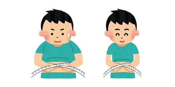 ウエストを測っている男性のイラスト(ダイエット)