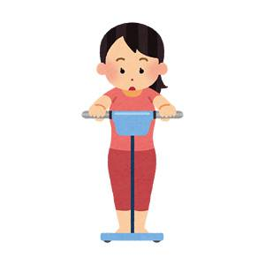 体脂肪計に乗っている女性のイラスト