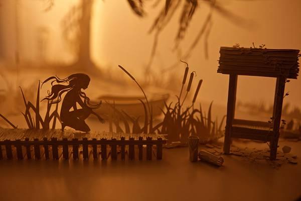 ペーパーアートに映像を投影する美しい箱庭作品 - 04