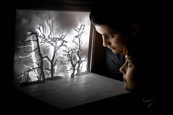 ペーパーアートに映像を投影する美しい箱庭作品 - 05