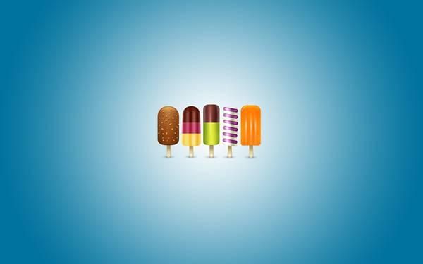02.いろんな種類のカラフルなアイスキャンディーのイラスト壁紙画像